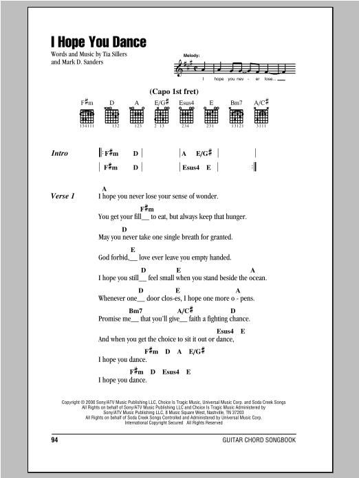 I Hope You Dance Sheet Music