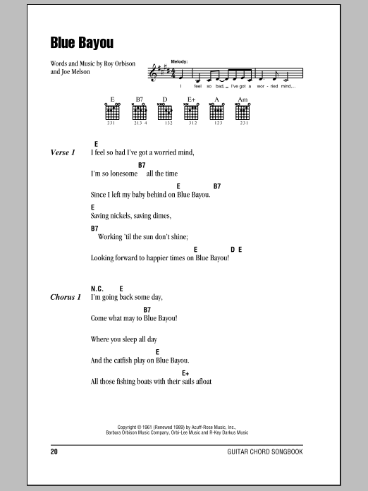 Blue Bayou Sheet Music
