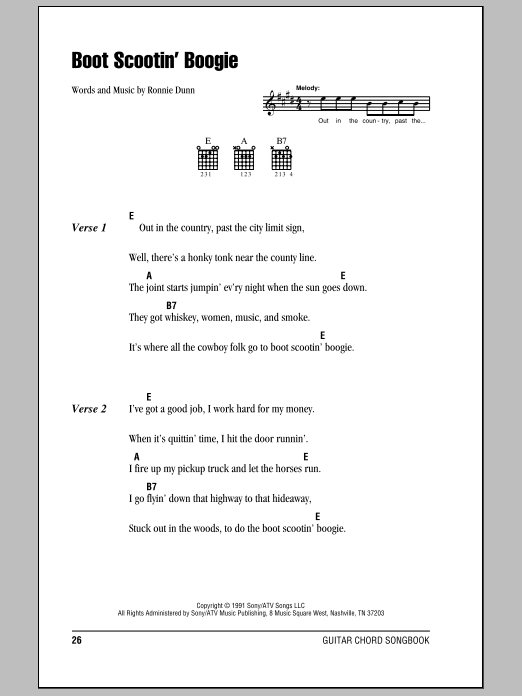 Boot Scootin Boogie By Brooks Amp Dunn Guitar Chords