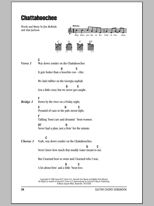 Chattahoochee Sheet Music Alan Jackson Lyrics Chords