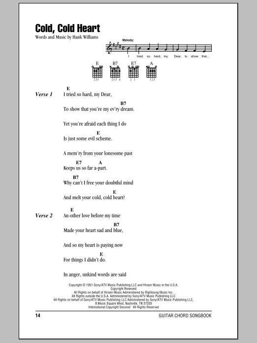 Cold, Cold Heart Sheet Music