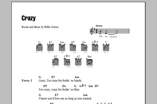 Crazy Sheet Music By Willie Nelson Lyrics Chords 80047
