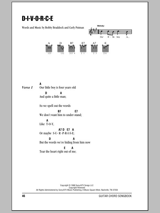 D-I-V-O-R-C-E (Guitar Chords/Lyrics)