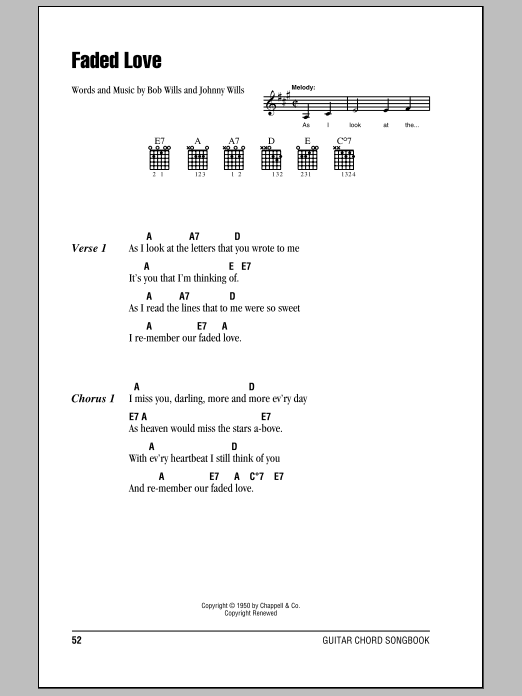 Faded Love Sheet Music By Bob Wills Lyrics Chords 80050