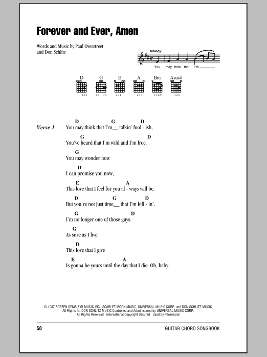 Forever And Ever, Amen Sheet Music
