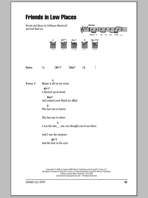 Friends In Low Places by Garth Brooks - Guitar Chords/Lyrics ...