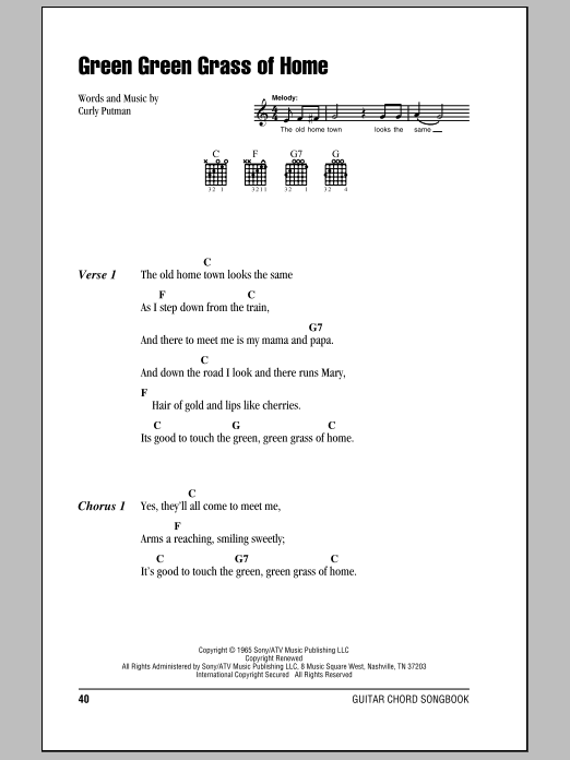 Green Green Grass Of Home Sheet Music