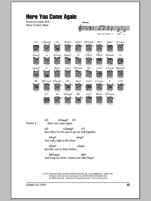 Here You Come Again Sheet Music