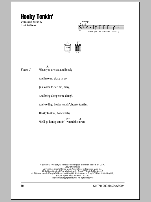Honky Tonkin' Sheet Music