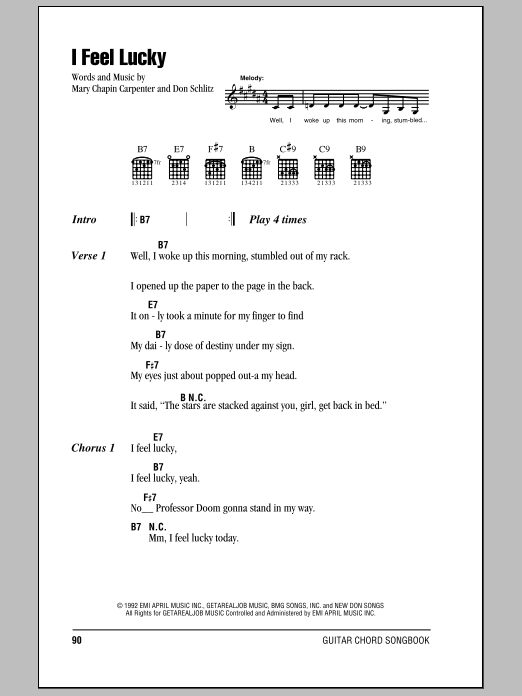 I Feel Lucky Sheet Music