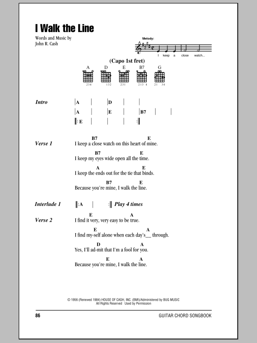 I Walk The Line by Johnny Cash - Guitar Chords/Lyrics - Guitar ...