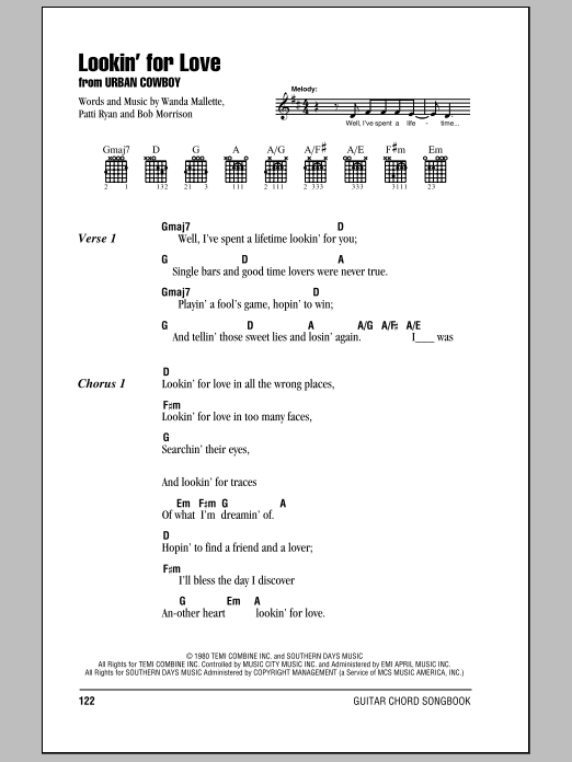 Lookin' For Love Sheet Music