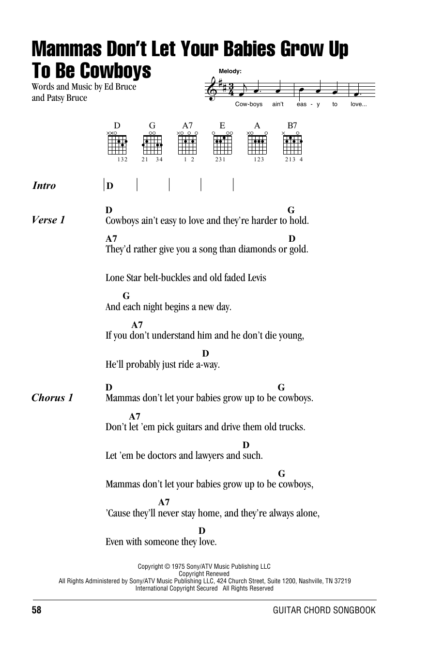 Mammas Don't Let Your Babies Grow Up To Be Cowboys (Guitar Chords/Lyrics)