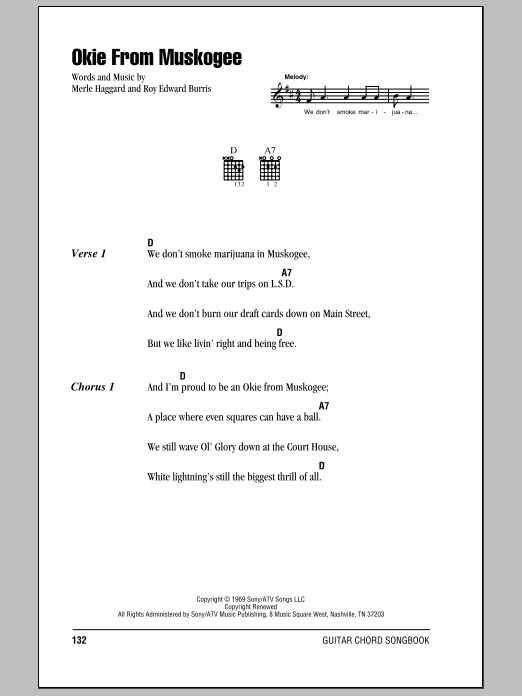 Okie From Muskogee Sheet Music