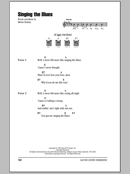 Singing The Blues Sheet Music Direct