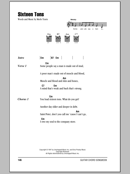 Sixteen Tons (Guitar Chords/Lyrics)