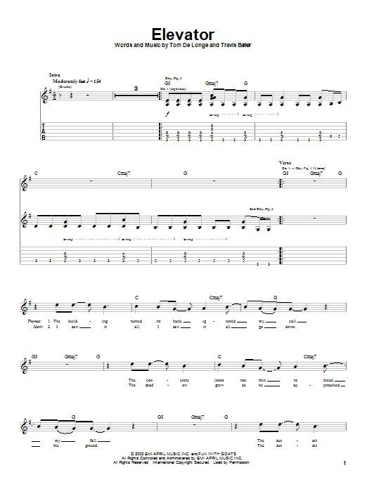 Tablature guitare Elevator de Box Car Racer - Tablature Guitare