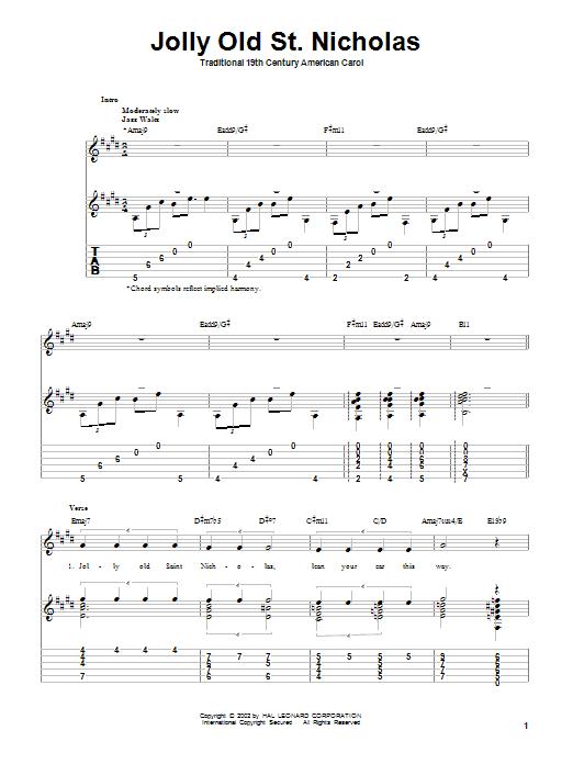 Tablature guitare Jolly Old St. Nicholas de 19th Century American Carol - Tablature Guitare