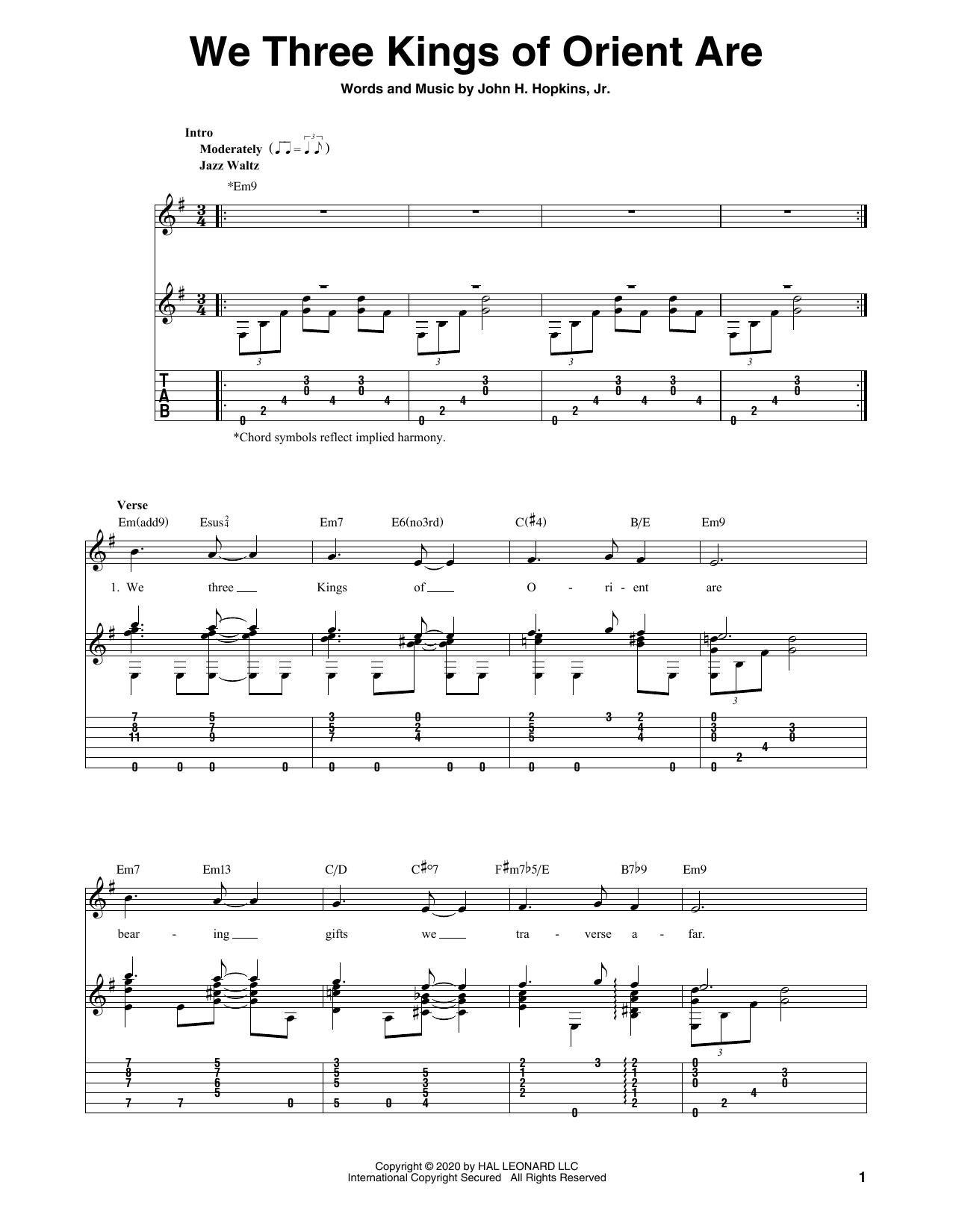 Tablature guitare We Three Kings Of Orient Are de John H. Hopkins, Jr. - Tablature Guitare