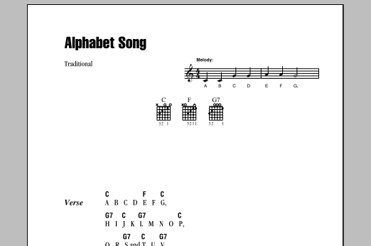 Alphabet Song (Guitar Chords/Lyrics)