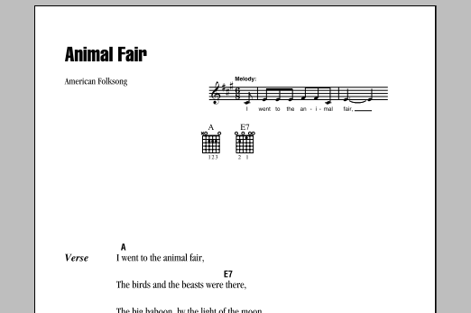 Animal Fair (Guitar Chords/Lyrics)