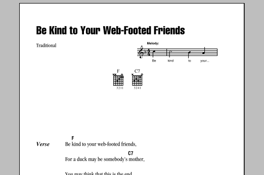 Be Kind To Your Web Footed Friends Sheet Music Traditional