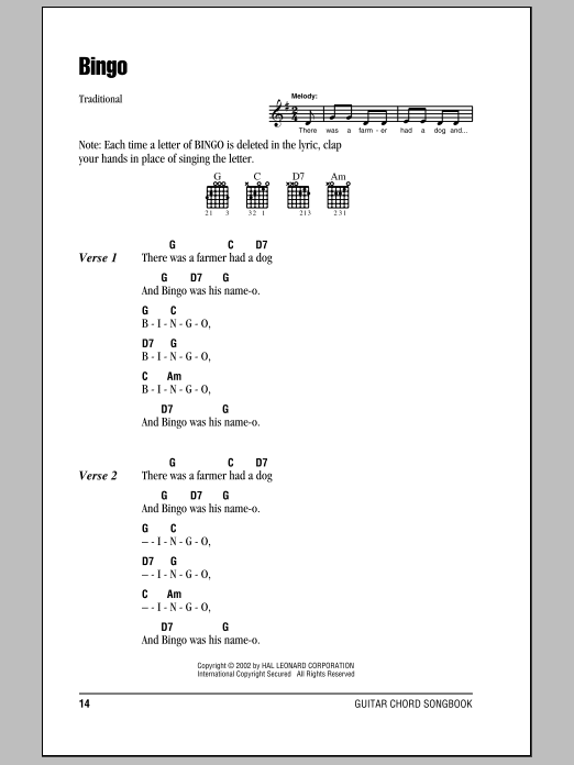 Bingo Sheet Music