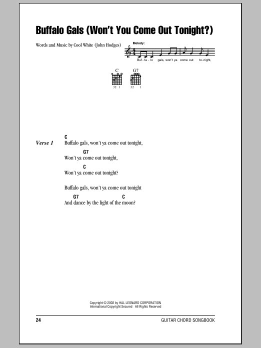 Buffalo Gals (Won't You Come Out Tonight?) Sheet Music