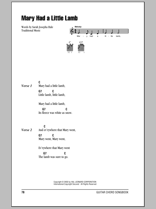 Mary Had A Little Lamb Sheet Music