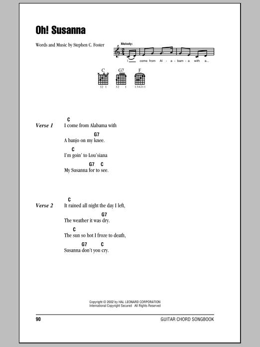Oh! Susanna (Guitar Chords/Lyrics)
