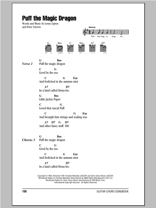 Puff The Magic Dragon by Peter, Paul & Mary - Guitar Chords/Lyrics ...