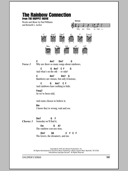 The Rainbow Connection Sheet Music Kermit The Frog Lyrics Chords