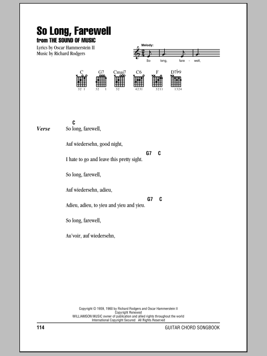 So Long, Farewell (from The Sound of Music) (Guitar Chords/Lyrics)