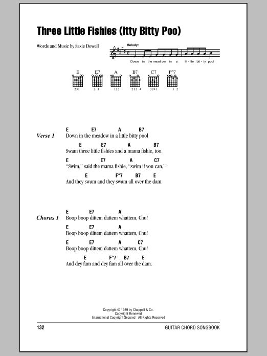 Three Little Fishies (Itty Bitty Poo) sheet music by Saxie Dowell ...