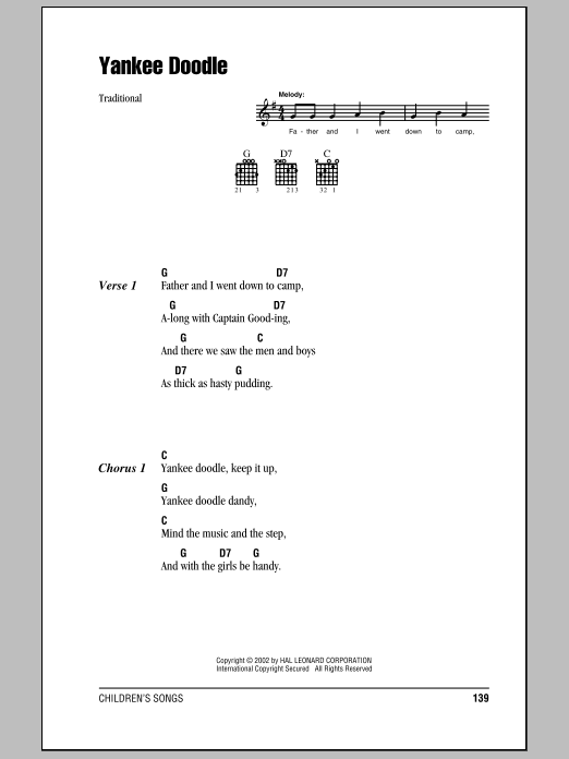 Yankee Doodle Sheet Music By Traditional Lyrics Chords 80713