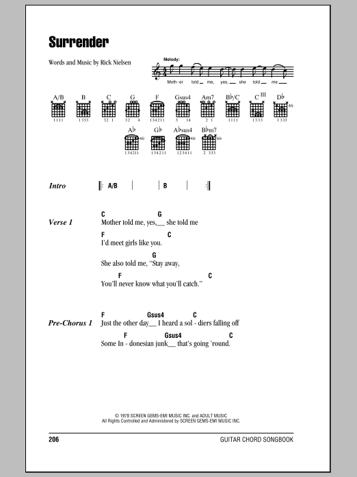 Surrender by Cheap Trick - Guitar Chords/Lyrics - Guitar Instructor