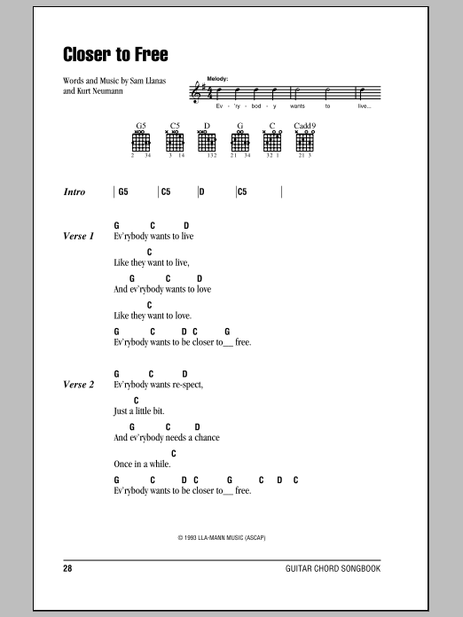 Closer To Free Sheet Music