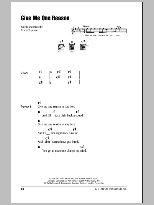 Give Me One Reason sheet music by Tracy Chapman (Lyrics & Chords ...