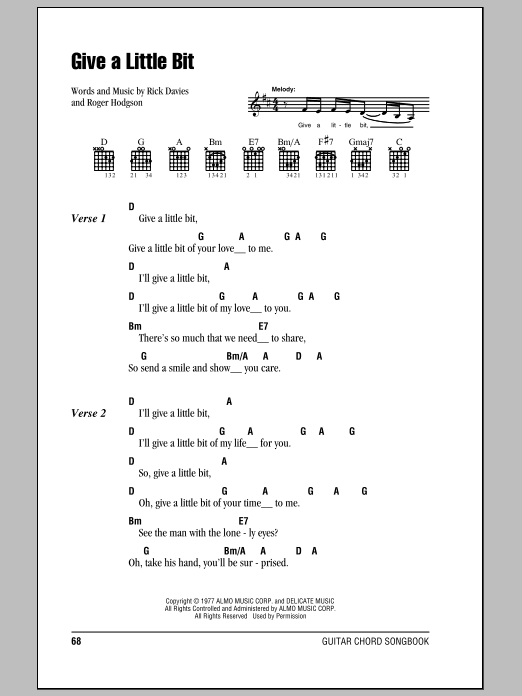 Give A Little Bit Sheet Music Direct