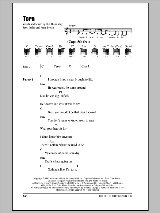 Torn by Natalie Imbruglia Piano, Vocal & Guitar (Right-Hand Melody) Digital  Sheet Music