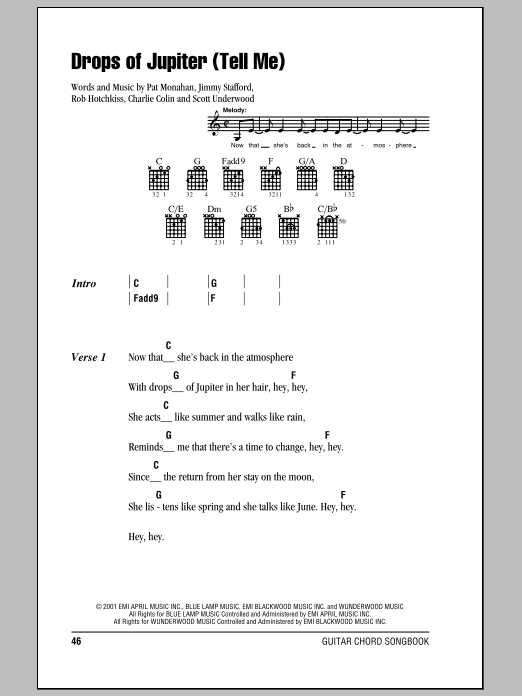 Drops Of Jupiter Tell Me Sheet Music Direct