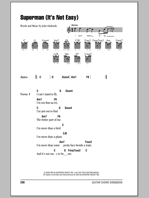 Superman (It's Not Easy) Sheet Music