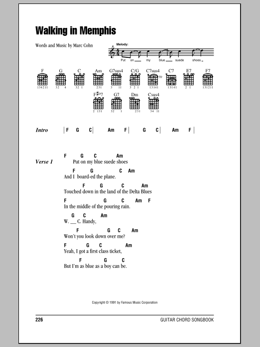 Walking In Memphis (Guitar Chords/Lyrics)