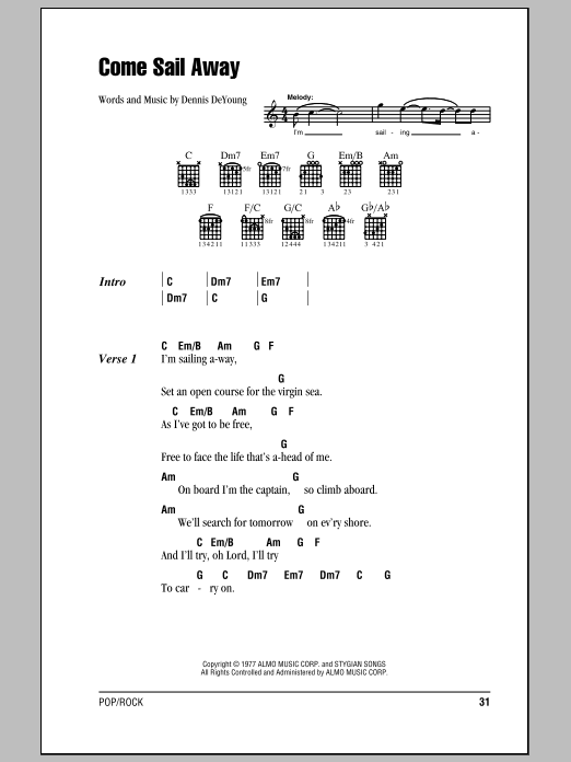 Come Sail Away Sheet Music