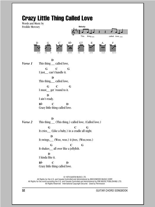 Crazy Little Thing Called Love Sheet Music By Queen Lyrics Chords
