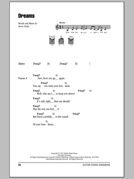Dreams sheet music by Fleetwood Mac (Lyrics & Chords – 81515)