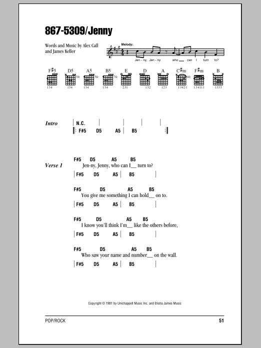 867-5309/Jenny Sheet Music