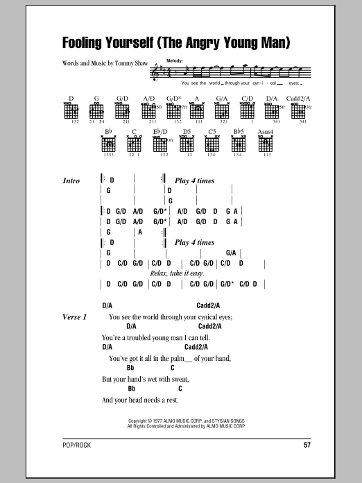 Fooling Yourself (The Angry Young Man) (Guitar Chords/Lyrics)