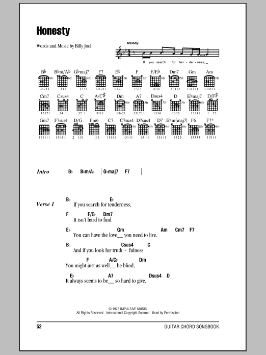 Honesty by Billy Joel - Guitar Chords/Lyrics - Guitar Instructor