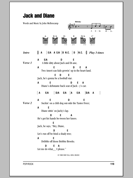 Jack And Diane Sheet Music
